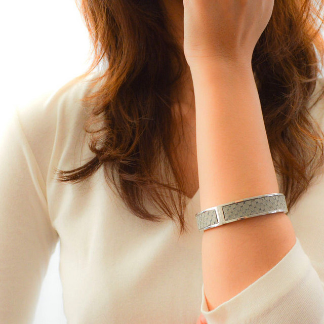 Leather Bangle (Gray×Silver)