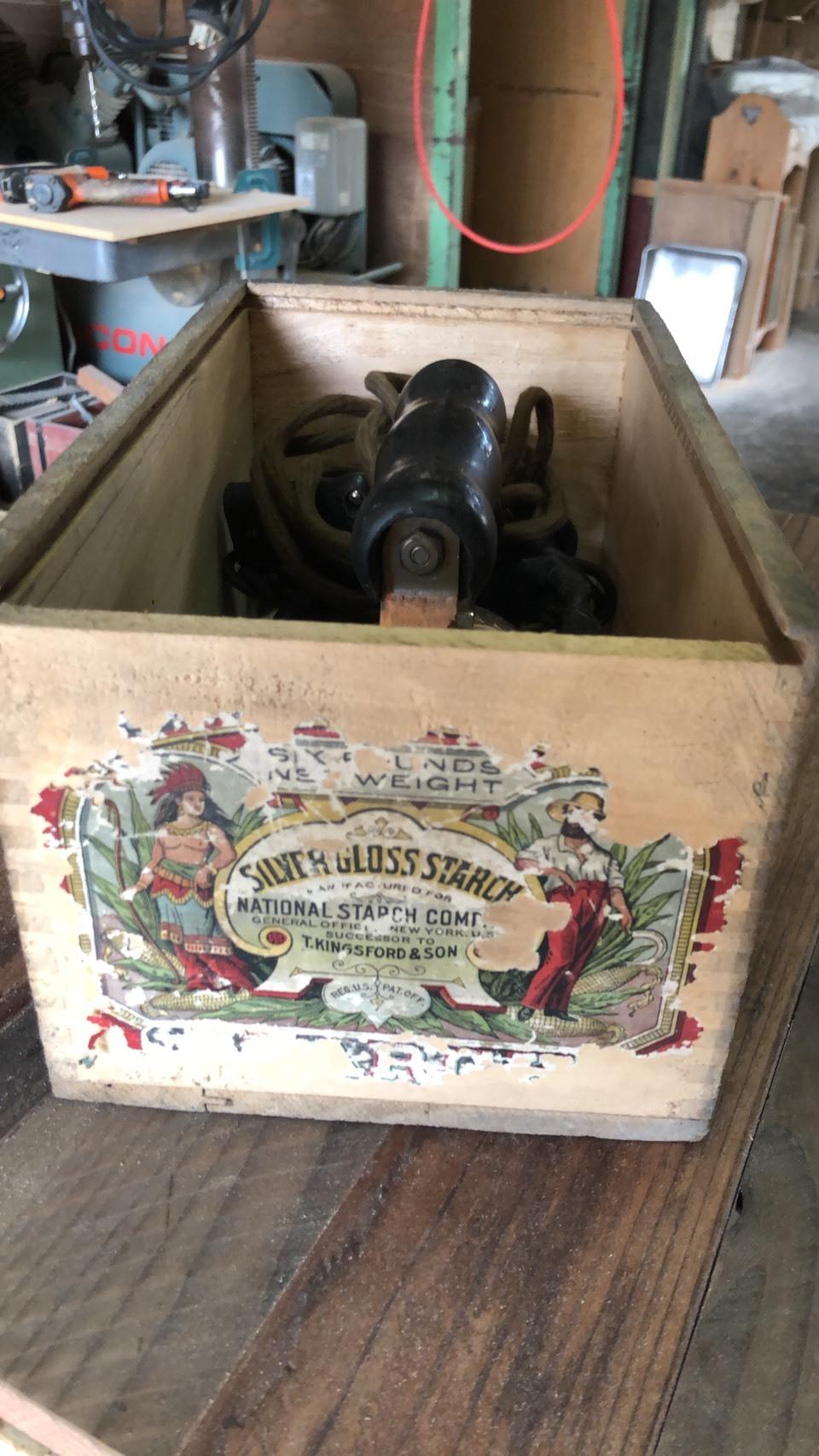 USA ジャンク アイロン付き木箱
