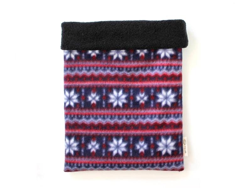 ハリネズミ用寝袋 L(冬用) フリース×フリース 雪の結晶 青