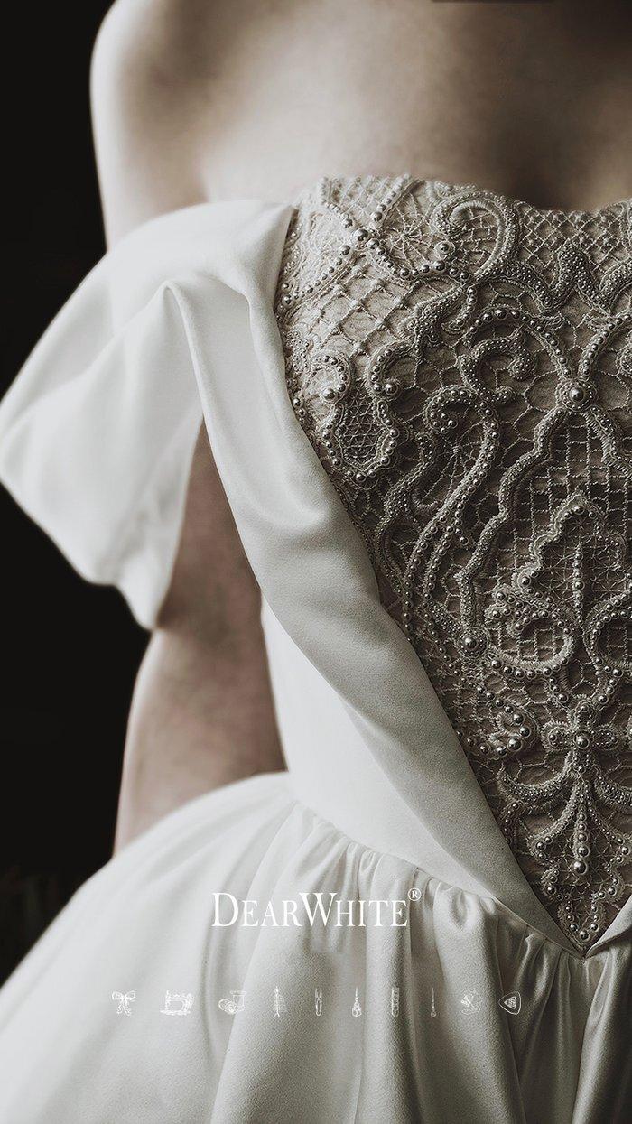 dw_b_30【DearWhite】ウェディングドレス Aライン プリンセス エンパイア デコルテ 結婚式 披露宴 二次会 パーティーウェディングドレス・カラードレス・サイズオーダー格安オーダーメイド DW00050