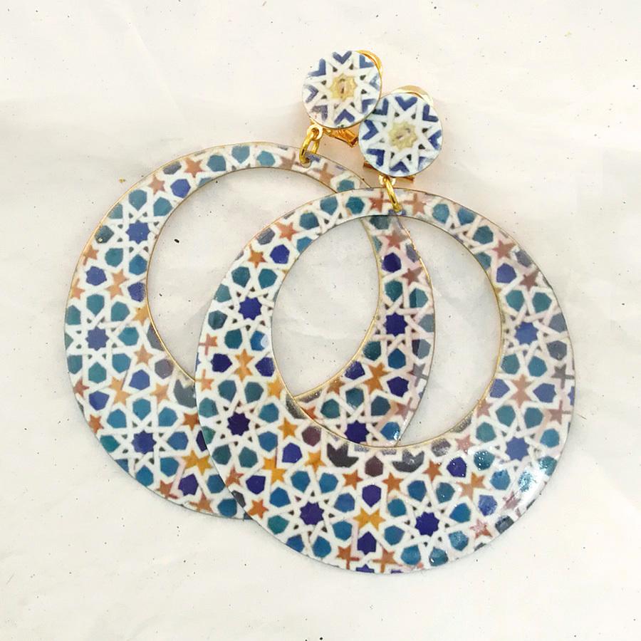 FE-Pd-ArM_AlcazarAzul イヤリング/ピアス(兼用タイプ)円形M タイル柄A・ブルー系  スペイン製