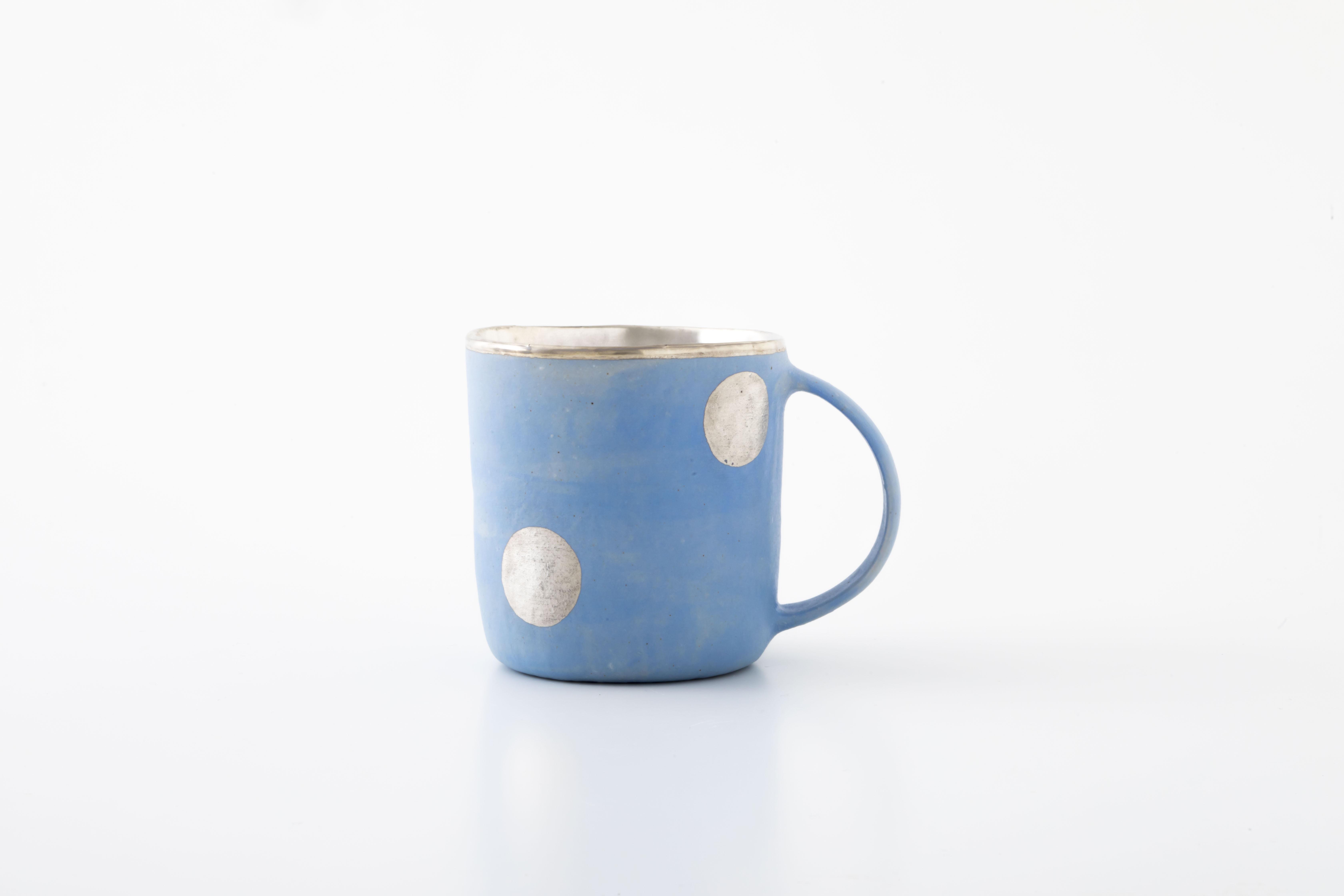 マグカップ:水色(銀彩・ドット・01) / 中囿義光