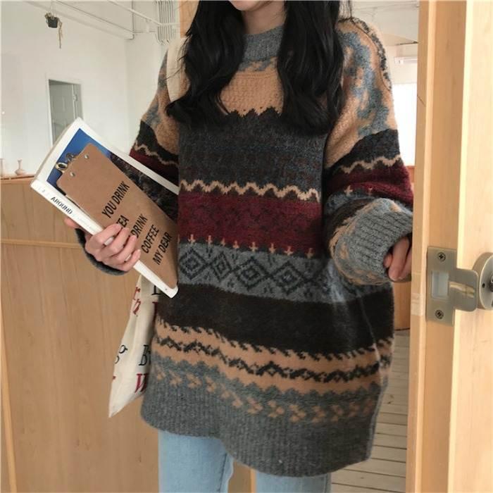 【送料無料】おしゃれ セーター ♡ カジュアル 大人可愛い ノルディック柄 プルオーバー ニット トップス