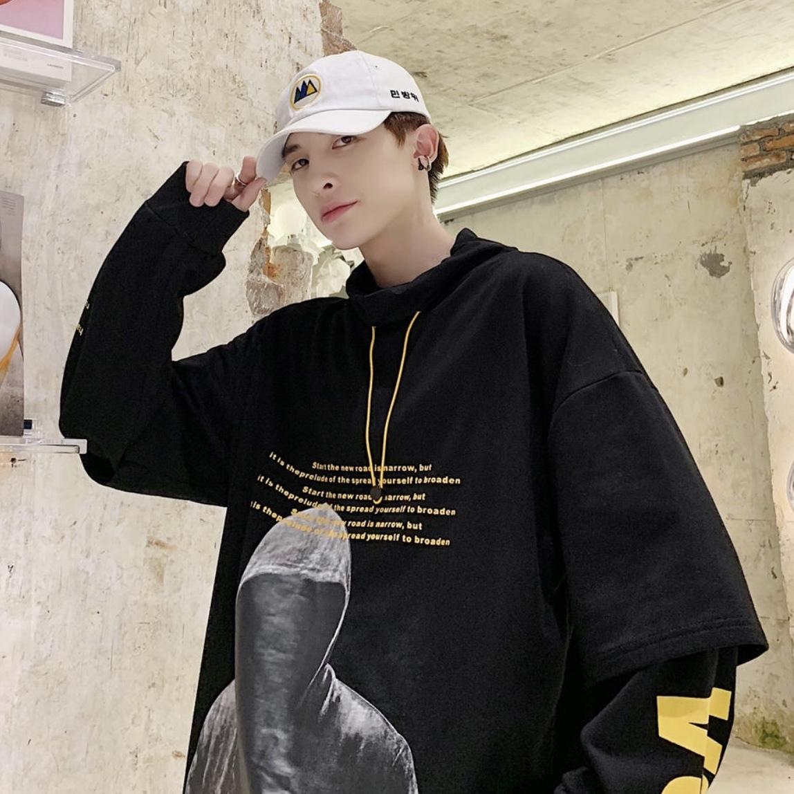 ハイデザインプリント パーカー ストリートファッション 韓国風