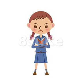イラスト素材:腕組みをするセーラー服姿の女子中学生・高校生(ベクター・JPG)