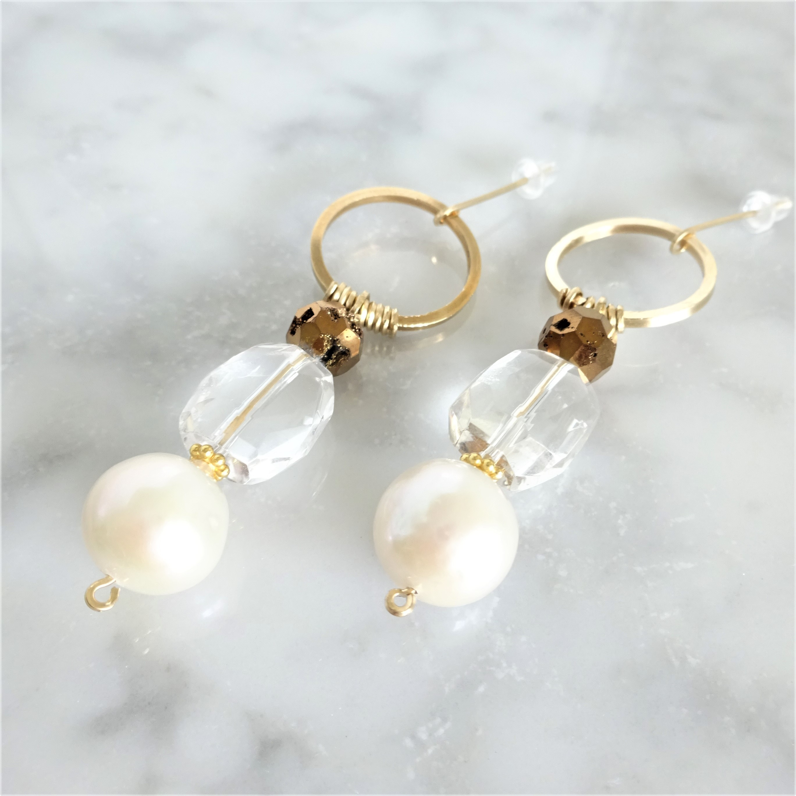 送料無料ALL14kgf*AAA Pearl & Crystal pierced earring/ earringパール
