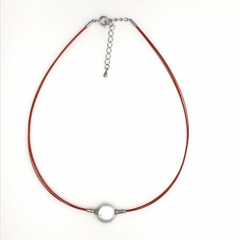 コインパールワイヤー(赤)ネックレス