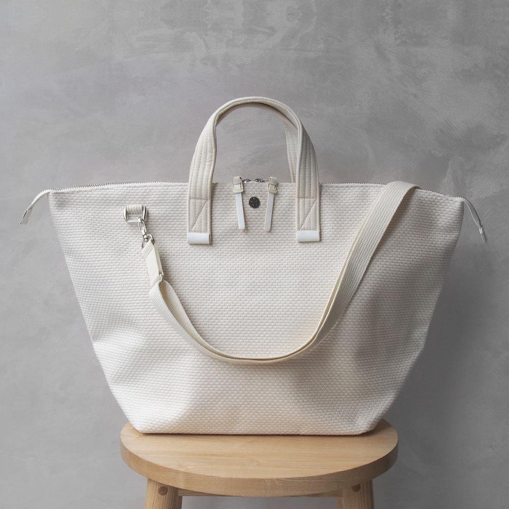 CaBas N°32-Bowler bag medium + Shoulder strap White/White