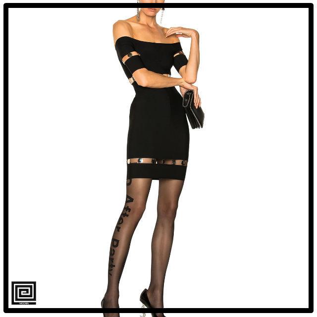 スラッシュネックスパンコールホローアウトバンテージドレス