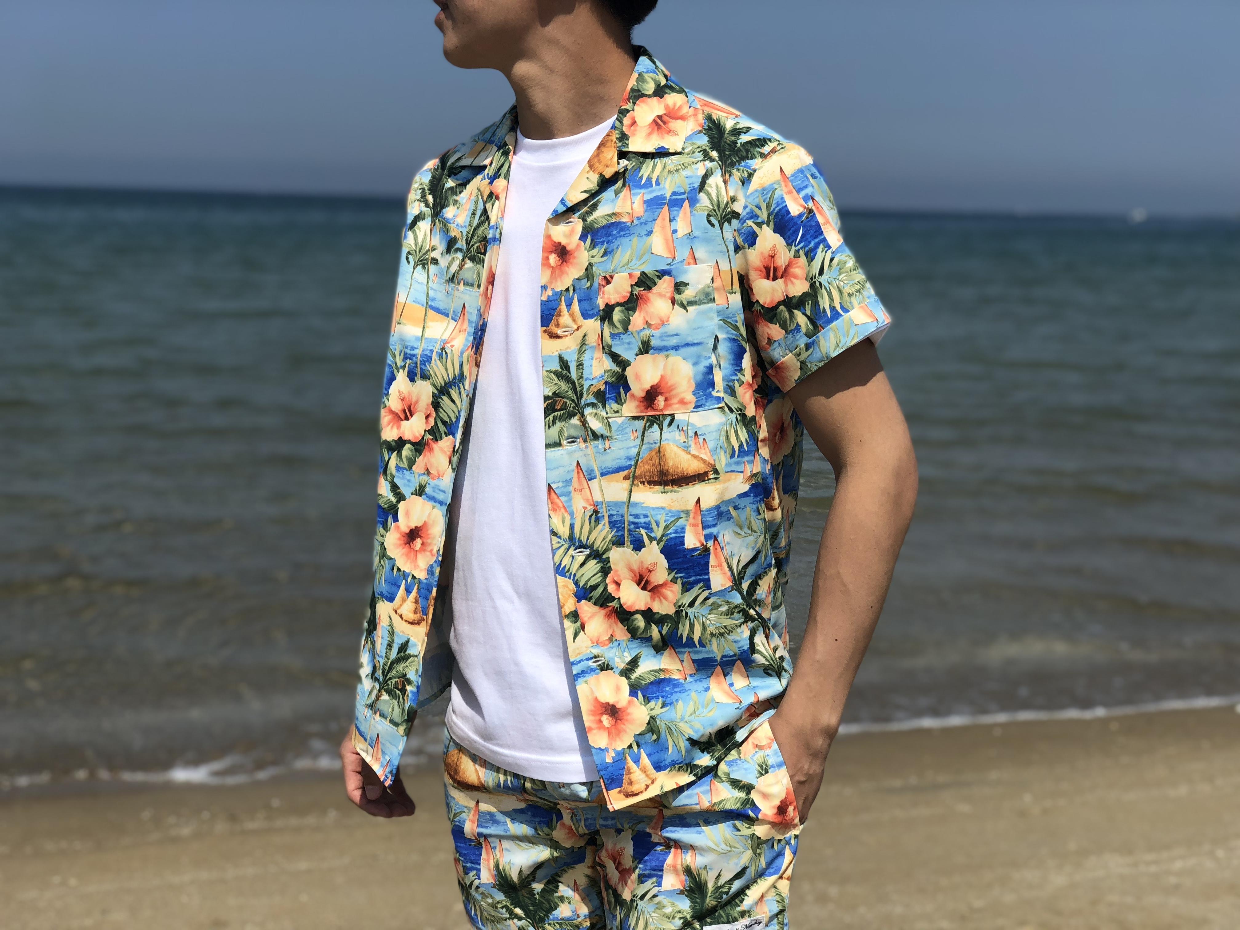 【SUMMER SALE】ThreeArrows Print SHIRT(aloha)