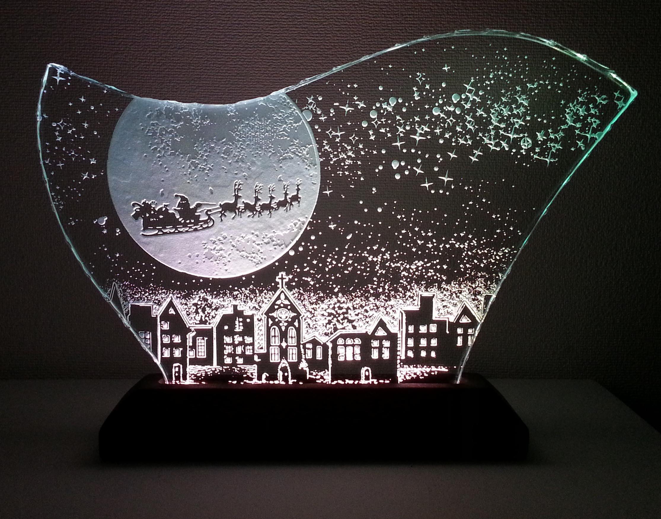 大きなクリスマスのガラスエッチングパネル LLサイズ・LEDスタンドセット