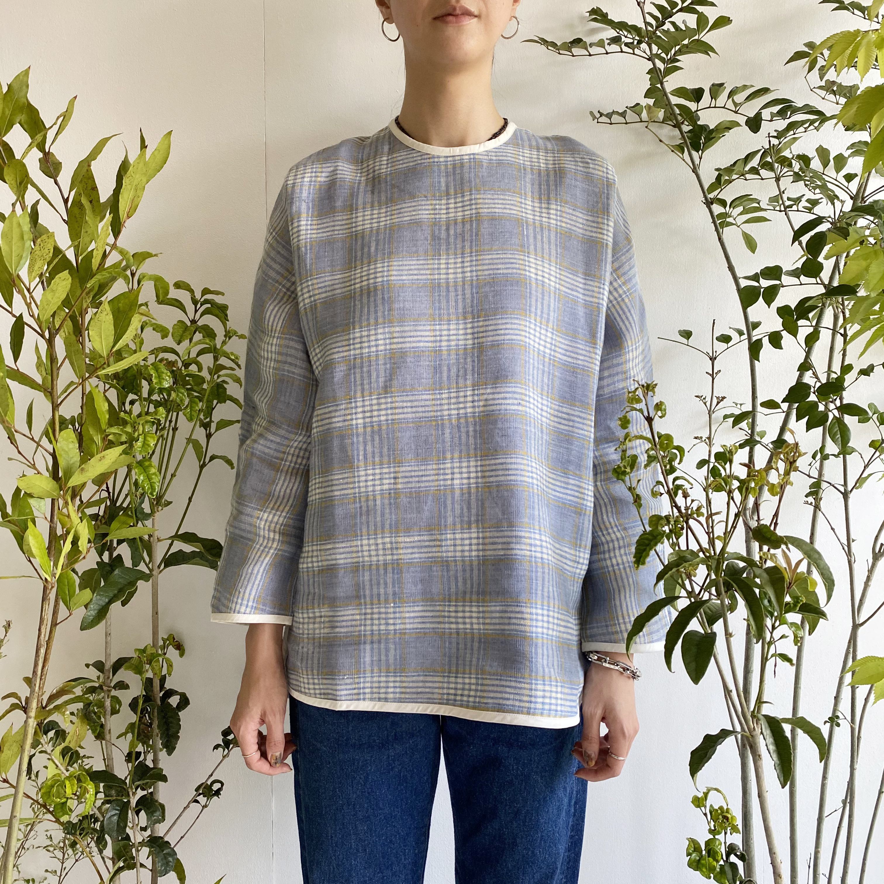 """Over size pullover """"Blue check"""""""