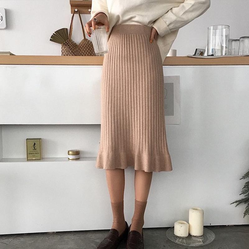 「ボトムス」エレガント秋冬フェミニンシンプル合わせやすいスリム3色ニットスカート
