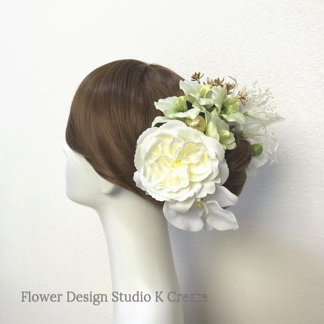 成人式、和装婚に♡薔薇とデンファレと胡蝶蘭のヘッドドレス (13点セット)