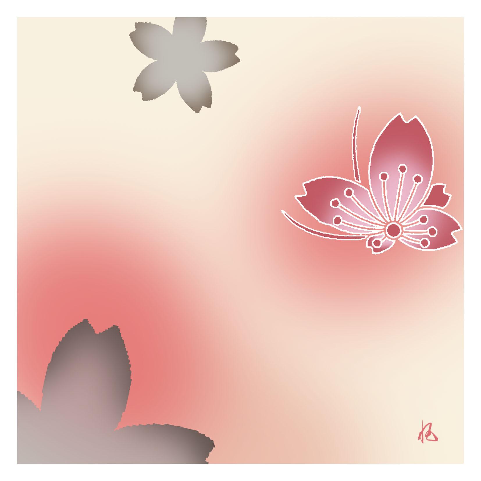 ガラス皿「そめゆら」K-05 桜飛び蝶紋 ピンク