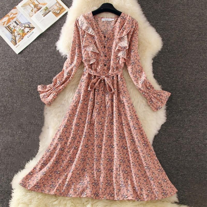 パープルフラワーピンクドレス
