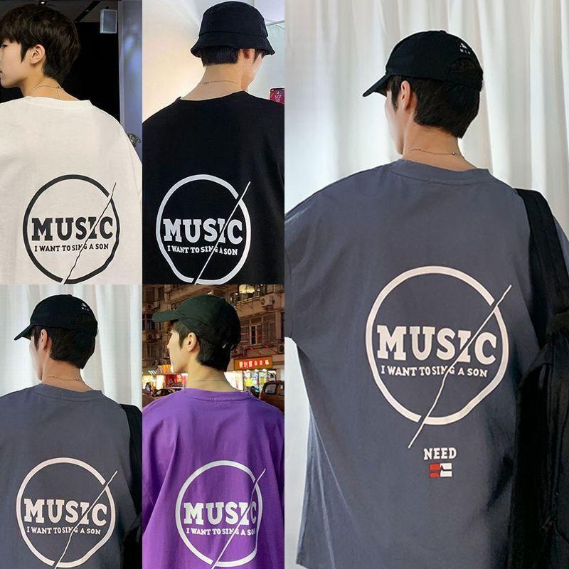 ユニセックス 半袖 Tシャツ メンズ レディース MUSIC 英字 バックプリント オーバーサイズ 大きいサイズ ルーズ ストリート