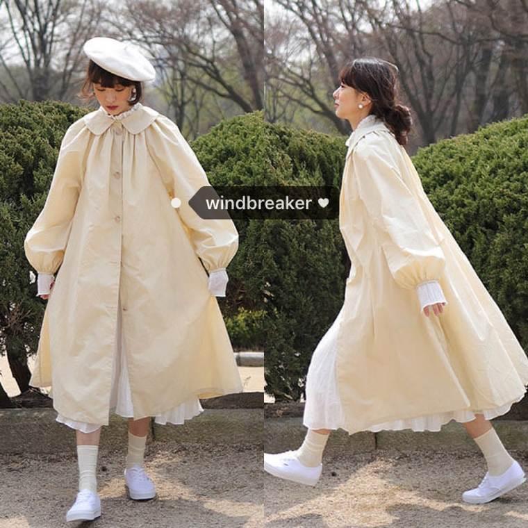【送料無料 】スプリングコート ♡ ガーリー フェミニン ふんわり 丸襟 Aライン フレア ステンカラー ロングコート