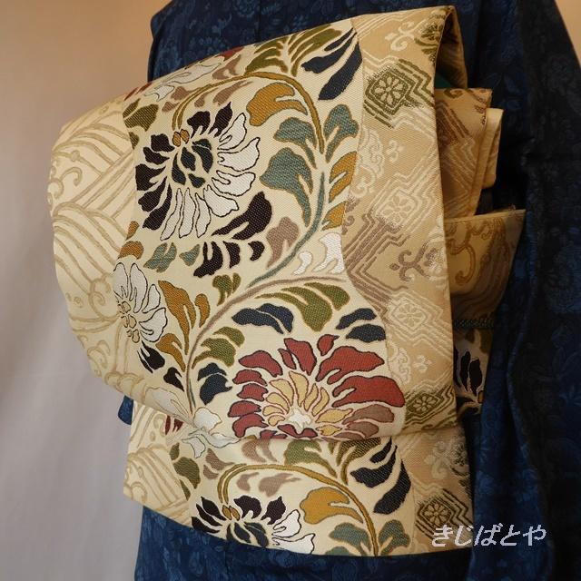 正絹 アイボリーに唐花の袋帯