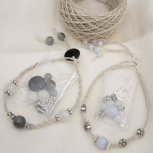 【お得なセット】天然石の細身ブレスレットが作れる材料セット Part2(ネコポス発送可能)