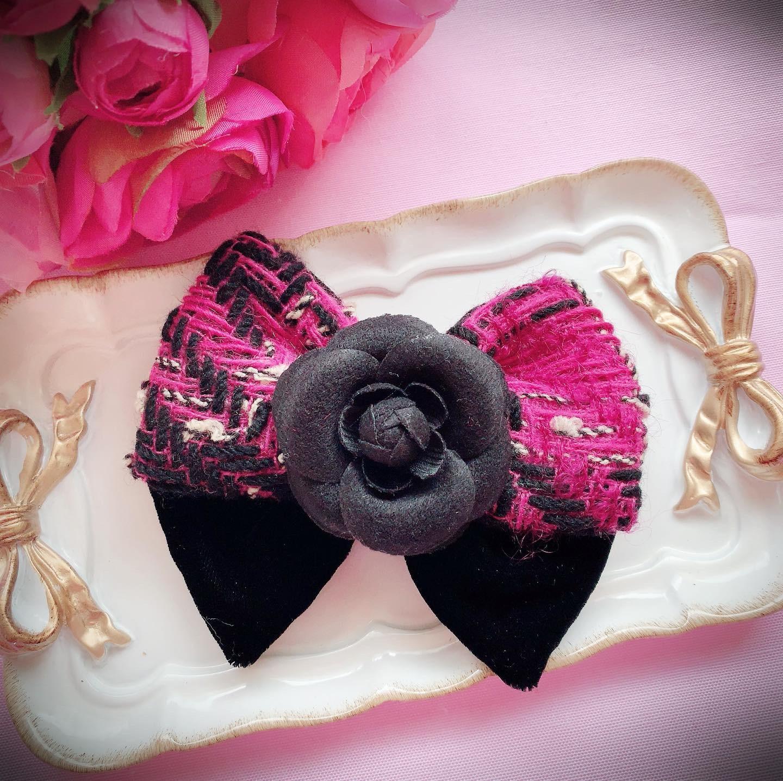 double ribbon バレッタ♡tweed camellia