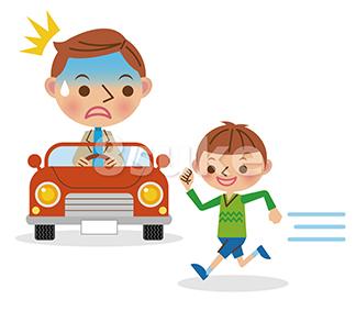 イラスト素材:飛び出してくる子供に驚くドライバー(ベクター・JPG)
