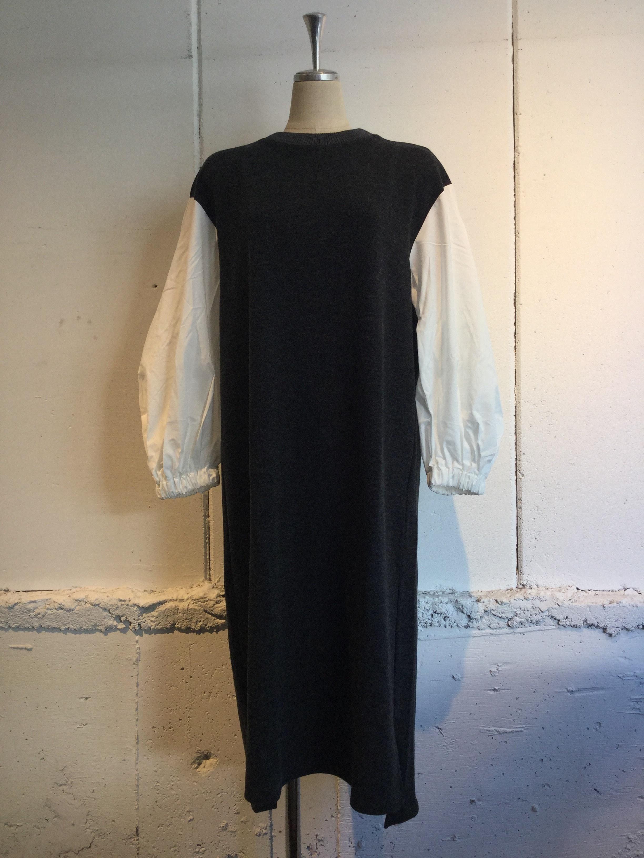 MUVEIL WORK 布帛袖ワンピース (charcoal)