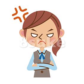 イラスト素材:怒るOL・事務職の女性(ベクター・JPG)