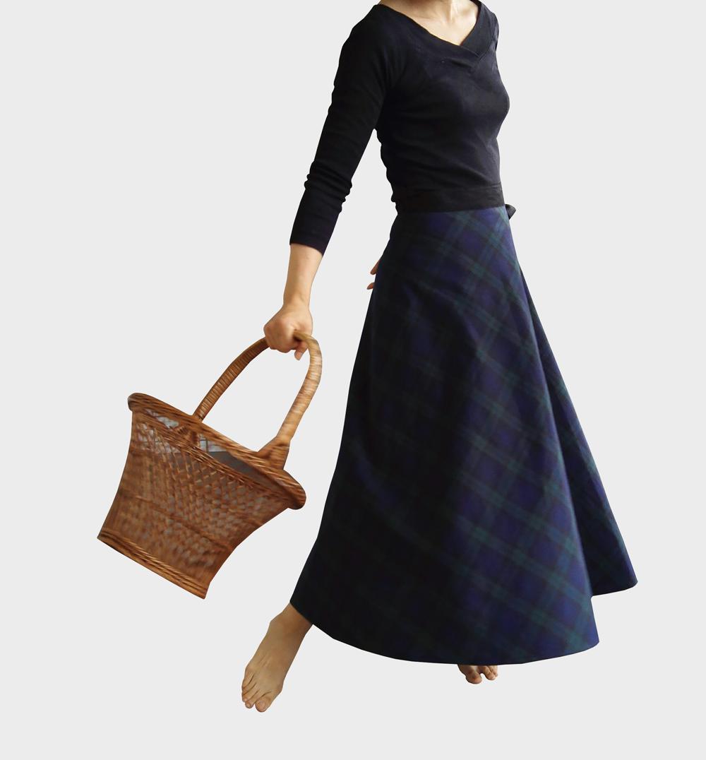 上質リネンコットン 秋の巻きスカート【ブラックウォッチ】