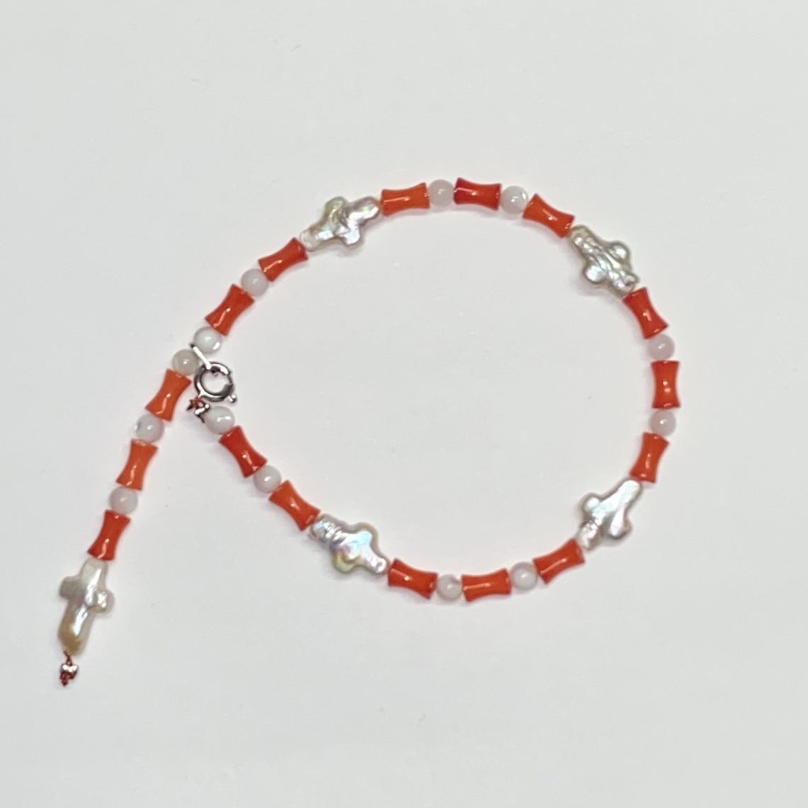 Perl Cross Bracelet -Orange- - 画像1