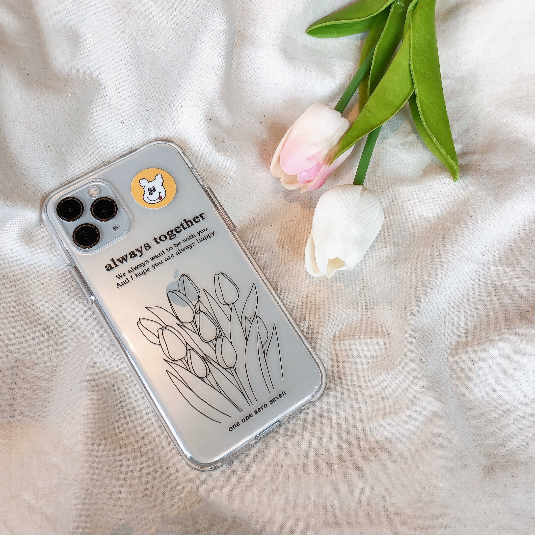 [OA-49] チューリップ クリア iPhoneケース(モノクロ)