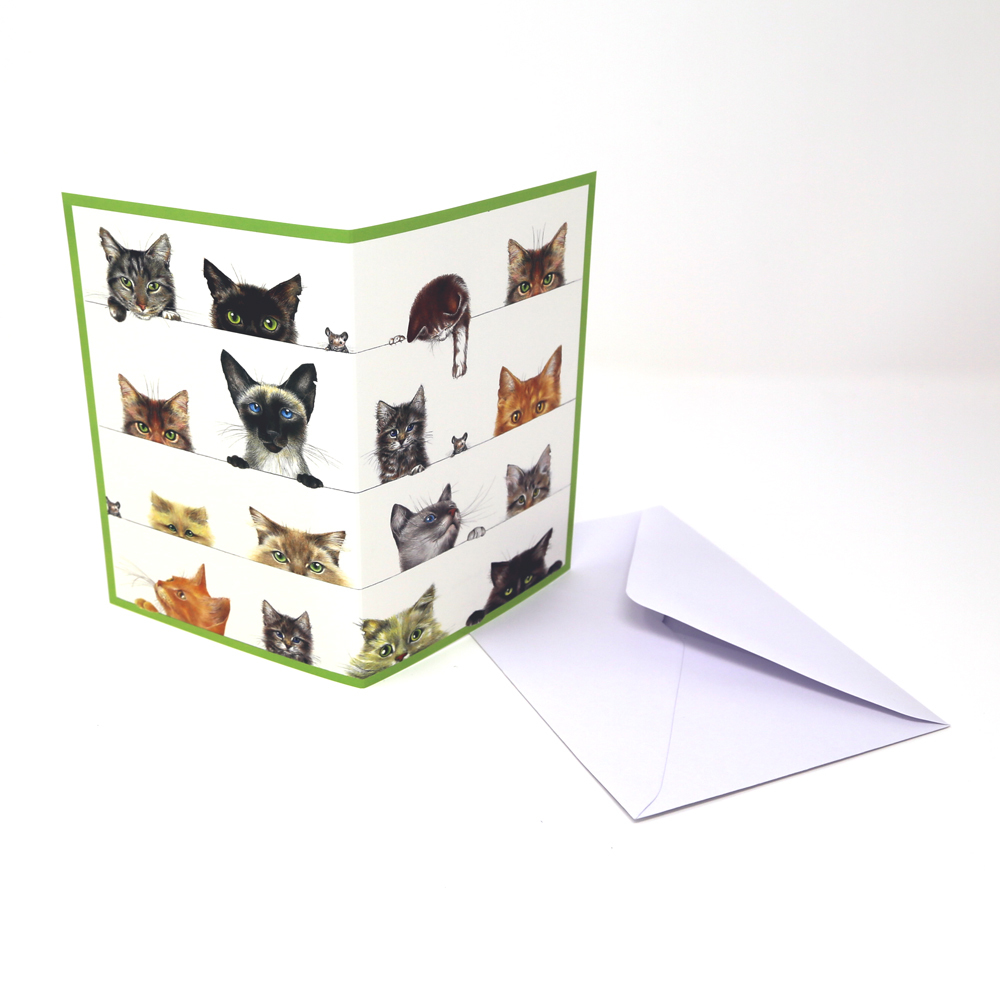 猫グリーティングカード(グリーンバージョン)