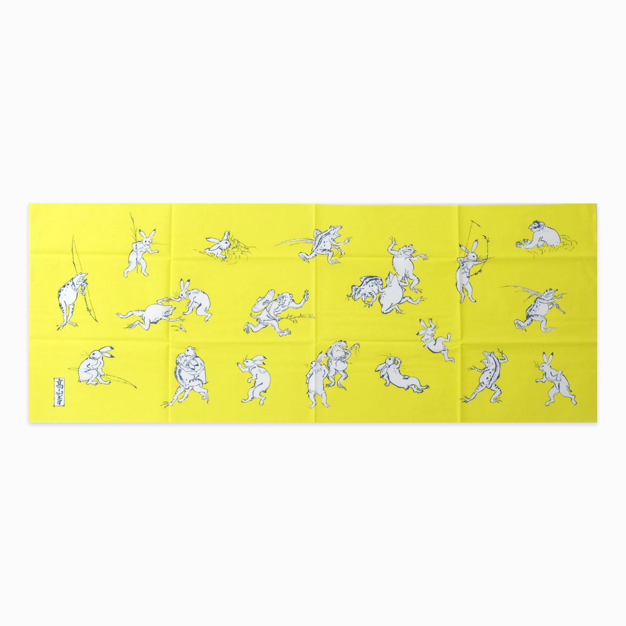 鳥獣戯画 手ぬぐい 鳥獣戯画 黄色