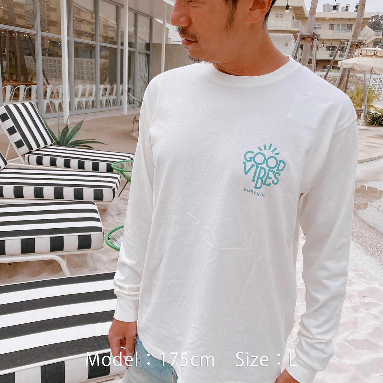 GOOD VIBES L/S Tee - Vintage white