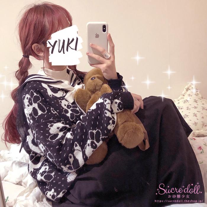 [3color] Bear Sailor Knit