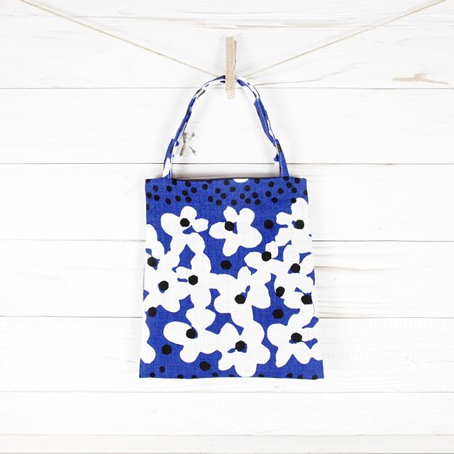 オリジナルミニョンバッグ ブルー×白い花 - 画像1
