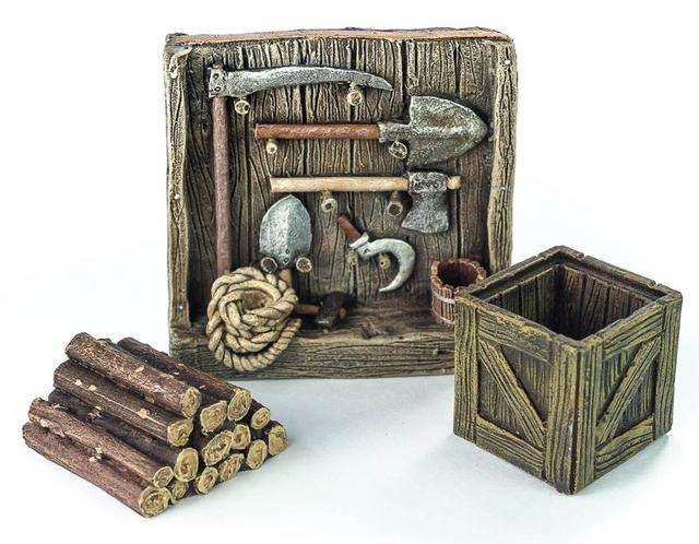 農具棚、薪、木箱セット - 画像3