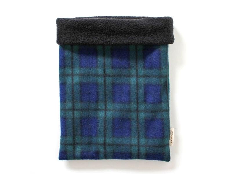 ハリネズミ用寝袋 L(冬用) フリース×フリース チェック ブルー