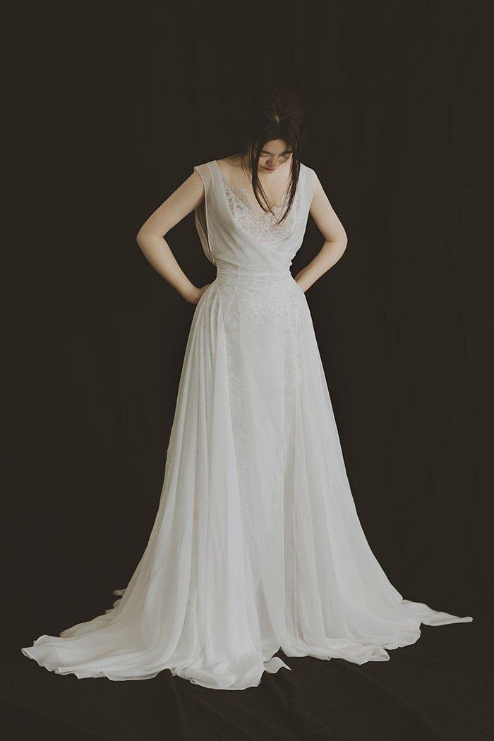 dw_b_22【DearWhite】オーダーメイドウェディングドレス Aライン プリンセス エンパイア デコルテ 結婚式 披露宴 二次会 パーティーウェディングドレス・カラードレス・サイズオーダー格安オーダーメイド