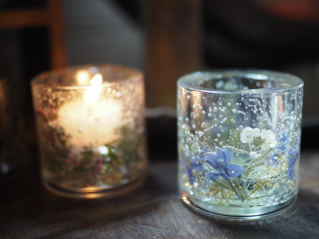Pressed Flowers Candle Holder 6