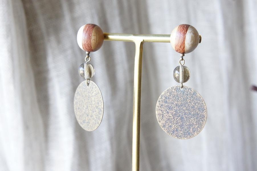 """木のいろ、寄せ木の耳飾り """" copper """" -ガラスビーズ 09 ピアス"""