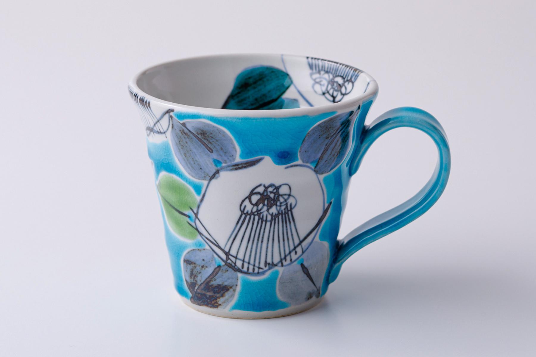 マグカップ 古染椿ブルー