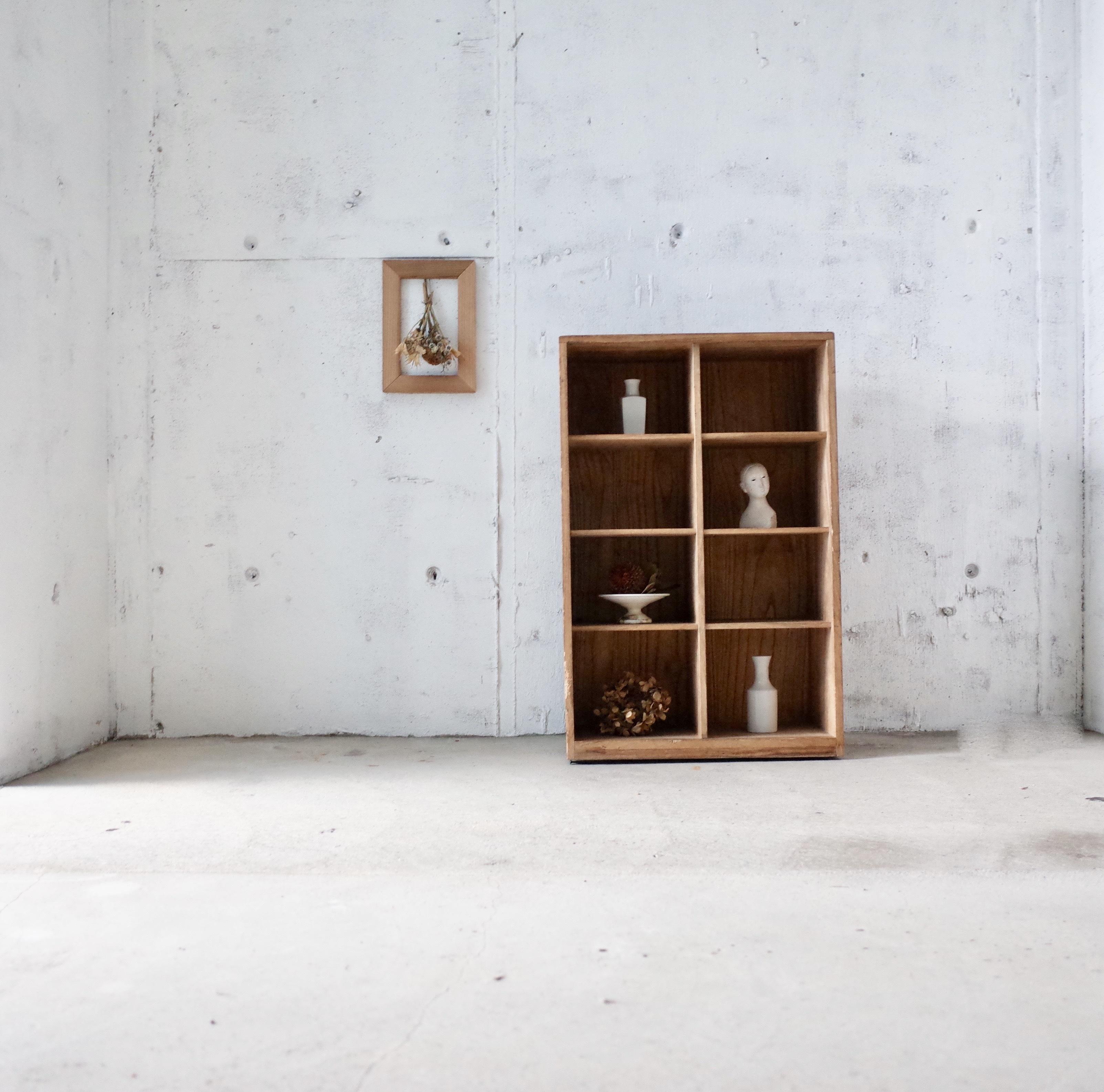 ナチュラル木味のマス棚[古家具]