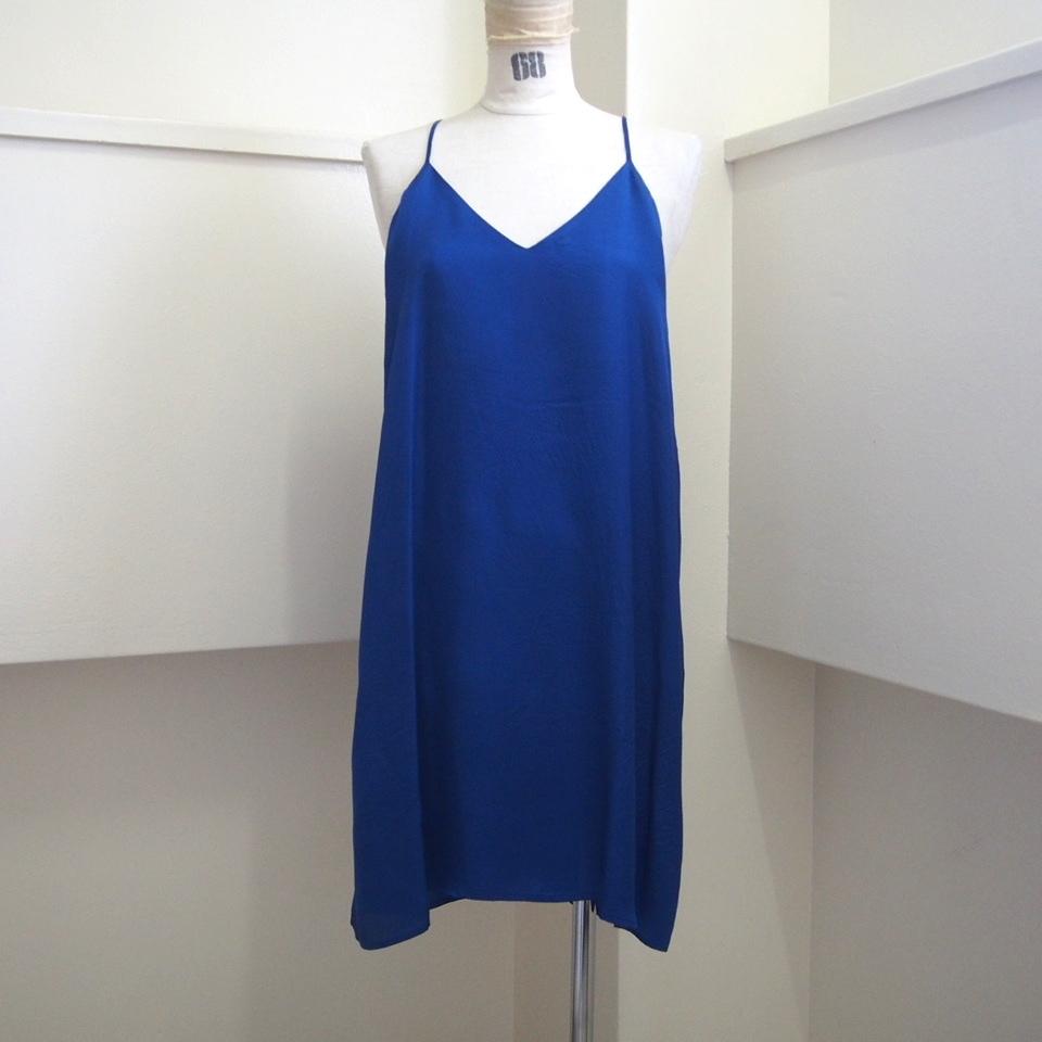 【hippiness】cupro  Vneck semi long camisole(blue) /【ヒッピネス】キュプラVネックセミロングキャミソール(ブルー)