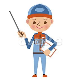 イラスト素材:指し棒を使って解説する自動車整備士(ベクター・JPG)