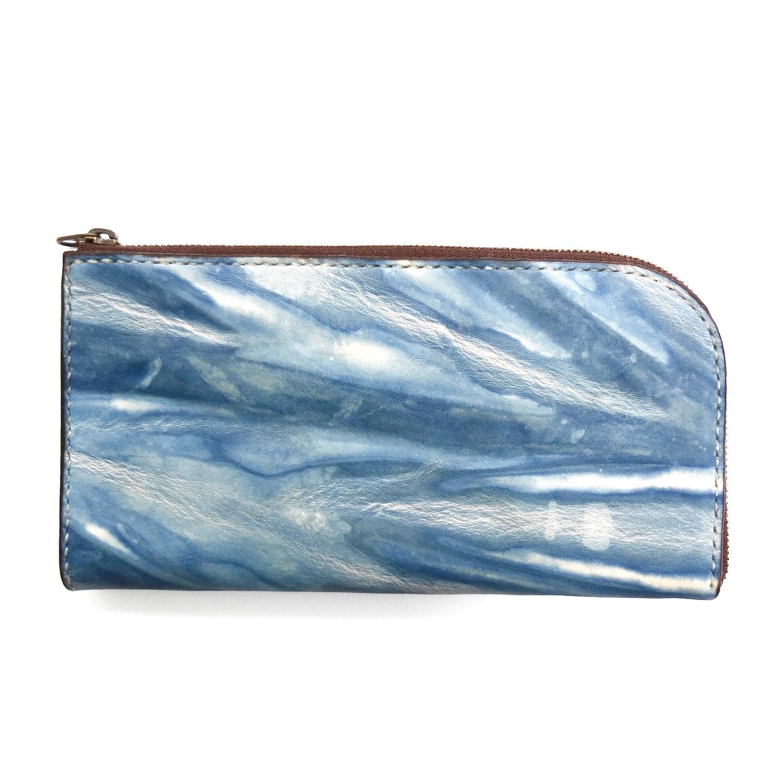 《受注生産》L字ファスナーの長財布【藍染レザー】