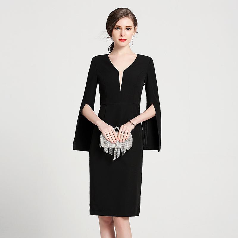 d4cb975ba8112 送料無料 パーティドレス レディース 結婚式 お呼ばれ 披露宴 フォーマル ブラックドレス 袖が可愛い ワンピ