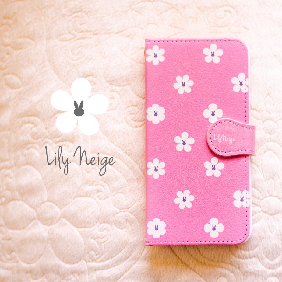 お花とうさぎのスマホケース★ピンクグレー