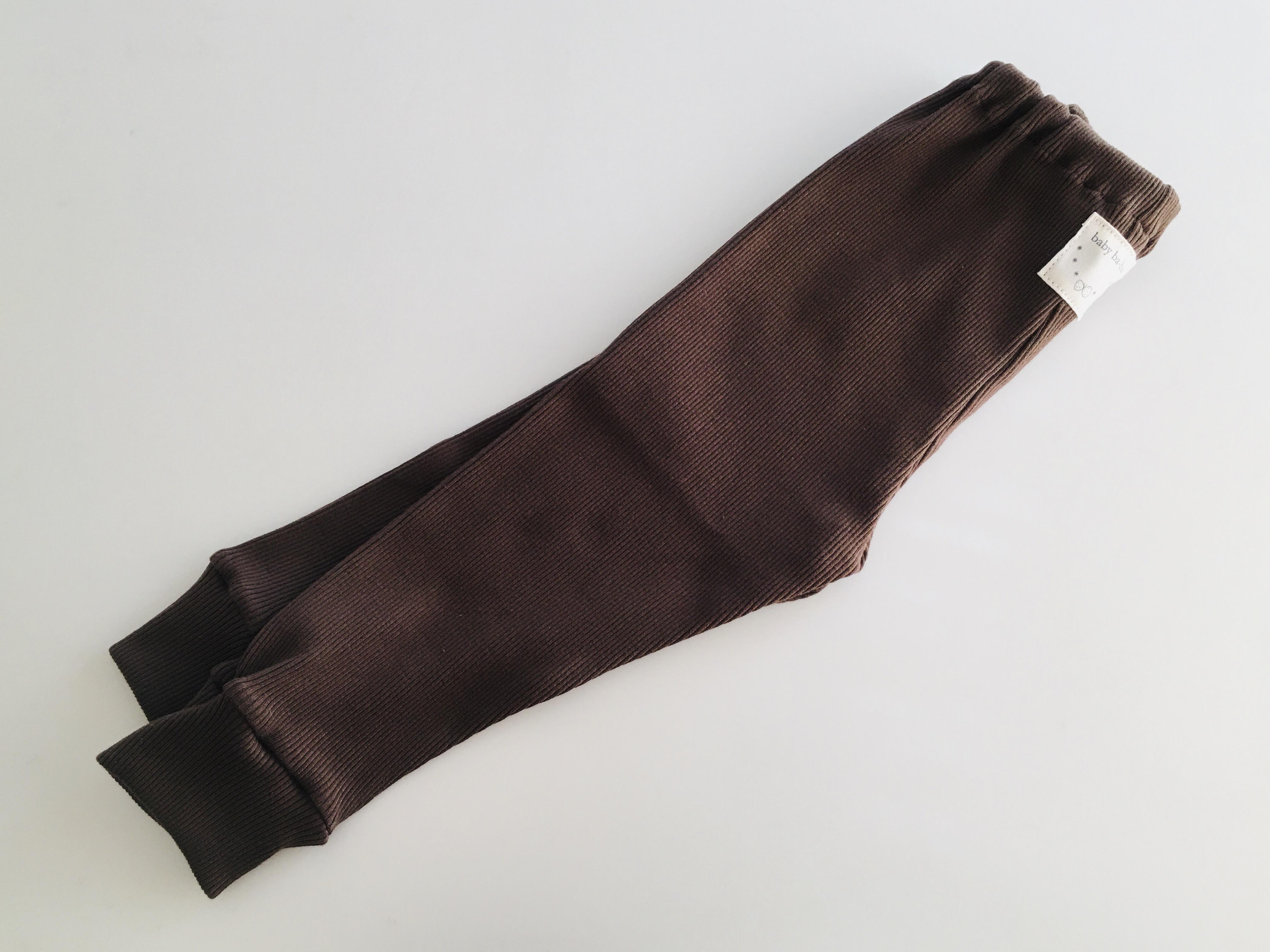 リブ素材スパッツこげ茶色90cm