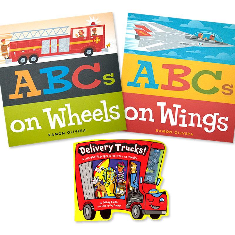 ☆英語絵本3冊☆「乗り物ABC」と「トラックしかけ絵本」セット